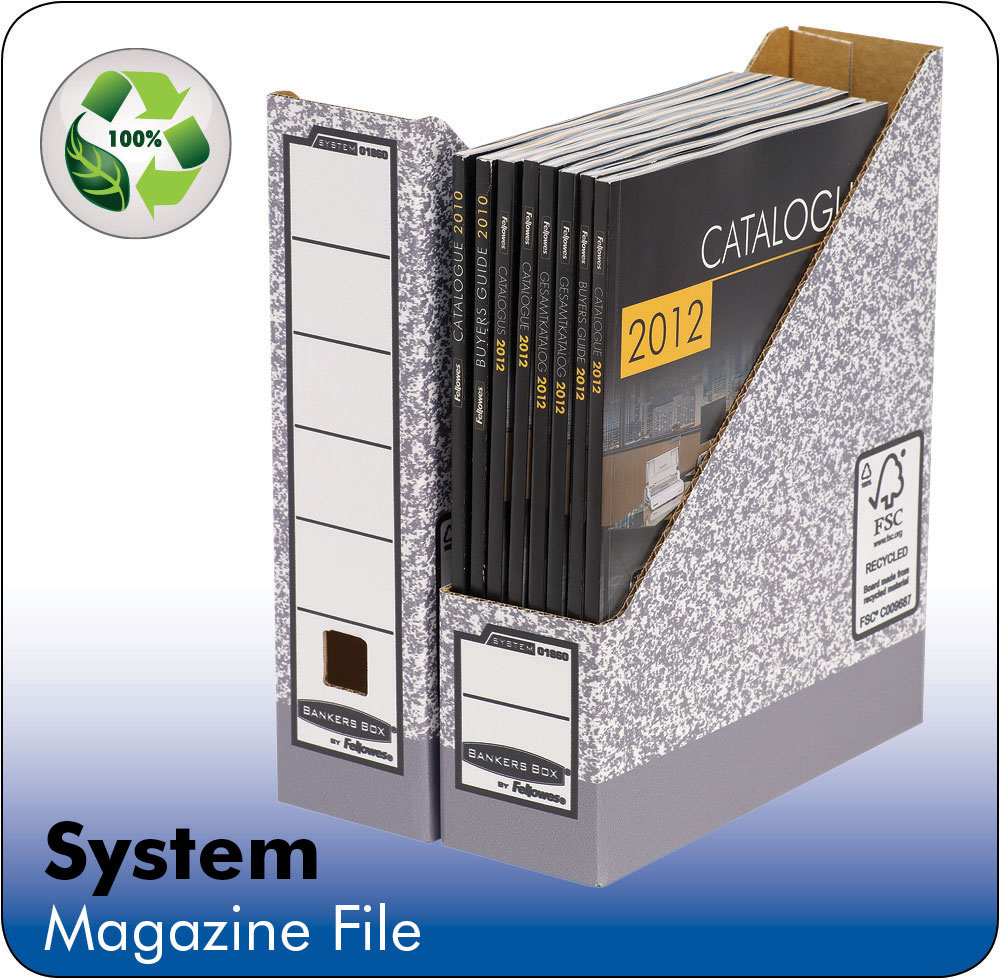 System A4 Magazine File Grey PK10