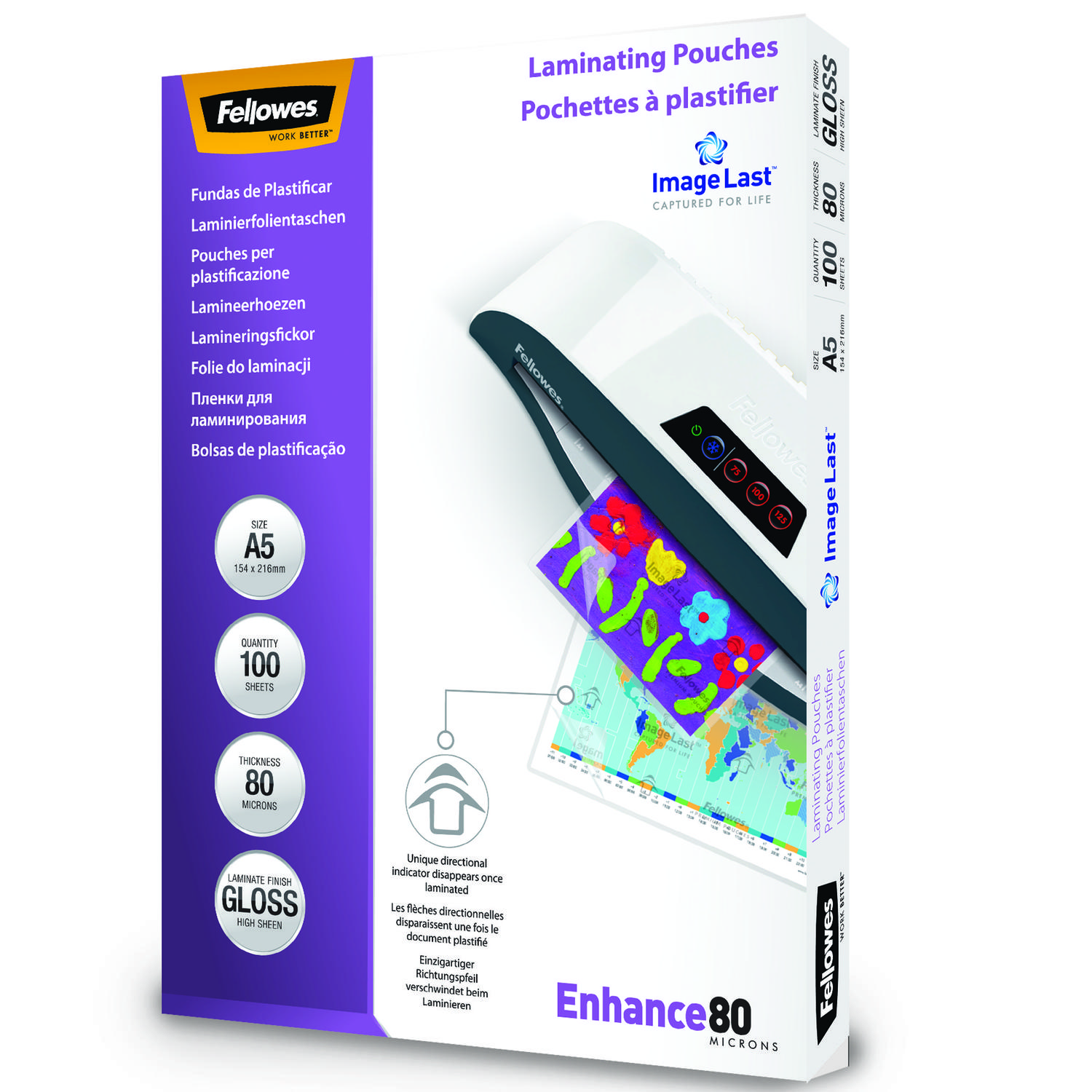 Laminating Film & Pockets Fellowes Laminating Pouch A5 2x80 micron 5306002 (PK100)