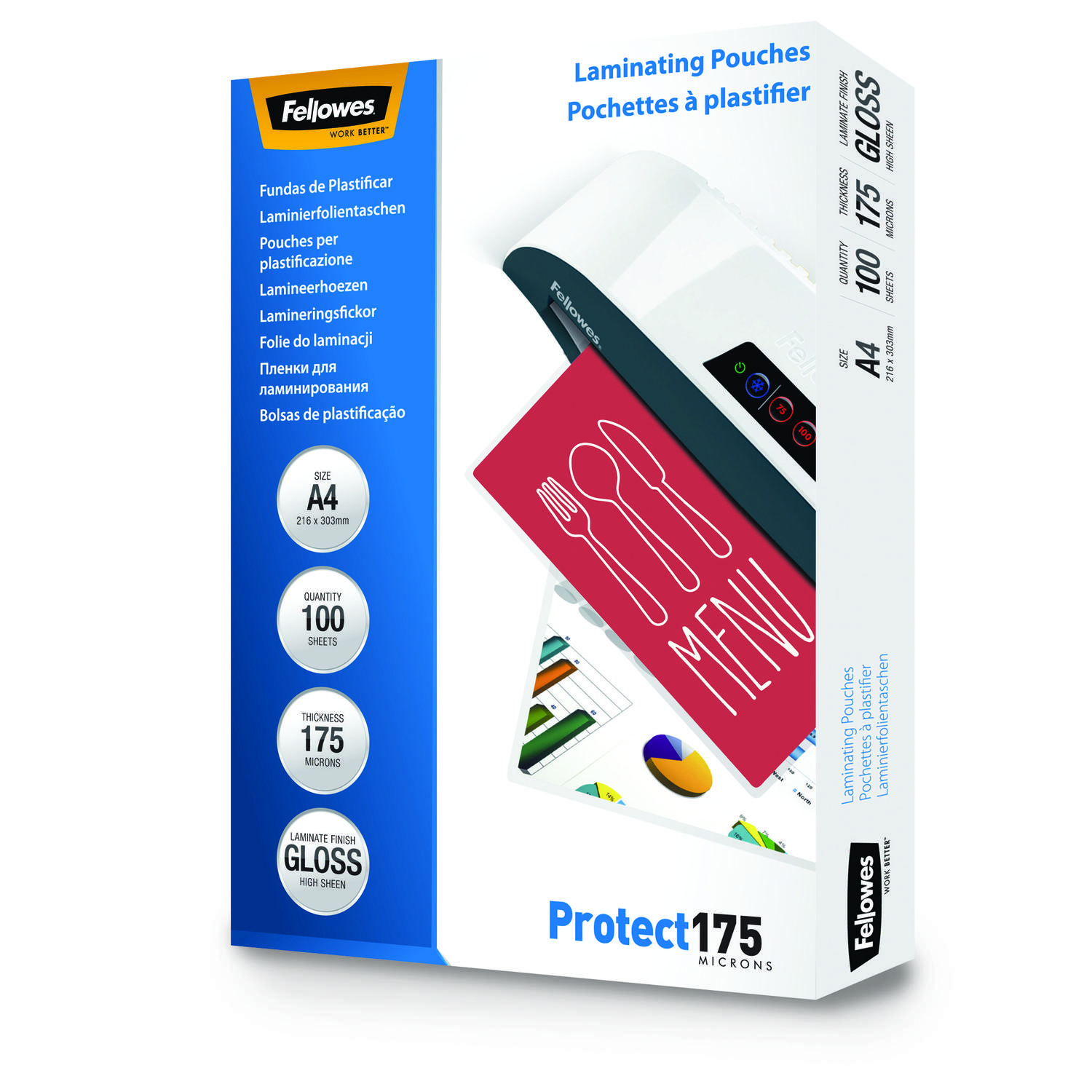 Laminating Film & Pockets Fellowes Laminating Pouch A4 2x175 micron 5308703 (PK100)
