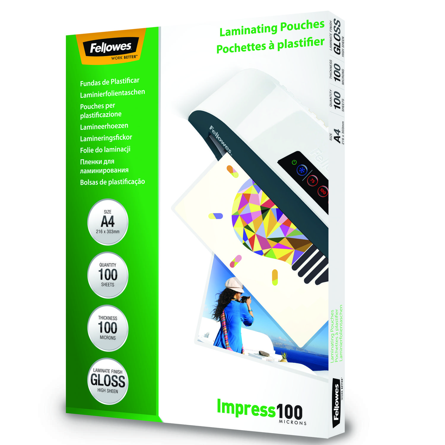 Laminating Film & Pockets Fellowes Laminating Pouch A4 2x100 micron 5351111 (PK100)