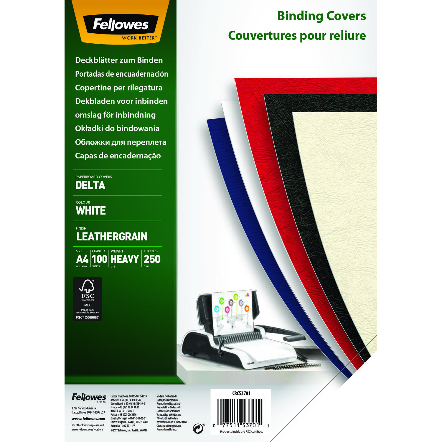 Fellowes Delta Cover A4 White 5370104 (PK100)