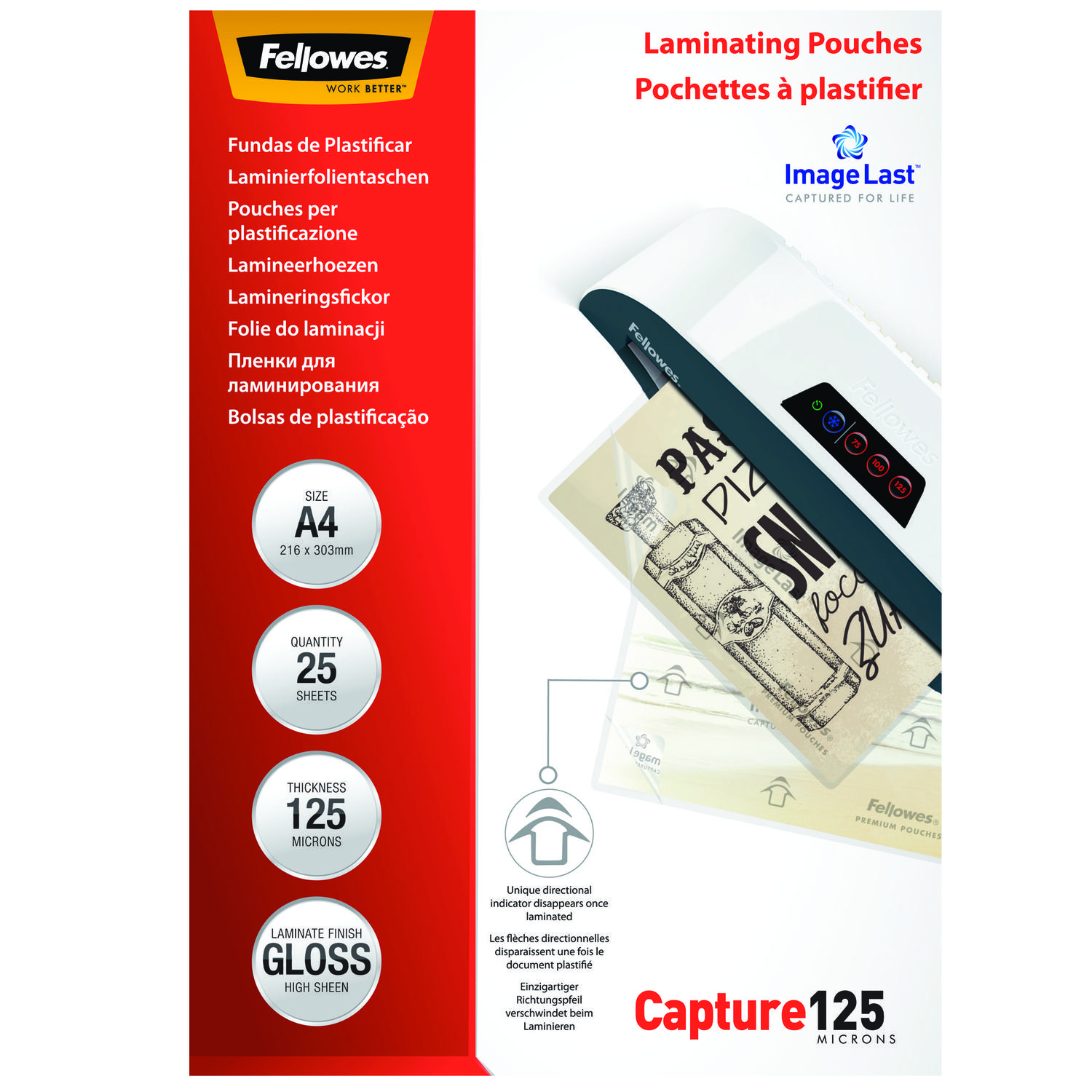 Laminating Film & Pockets Fellowes Laminating Pouch A4 2x125 micron 5396301 (PK25)