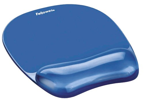 Mouse Mats Fellowes Crystal Mousepad Wrist Support Blue