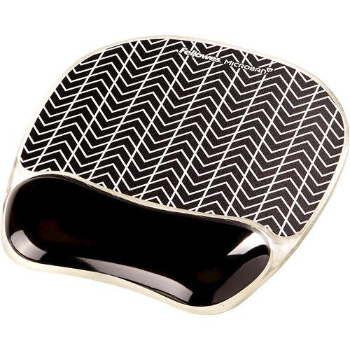 Fellowes Chevron Photo Gel Mousepad Wrist Support