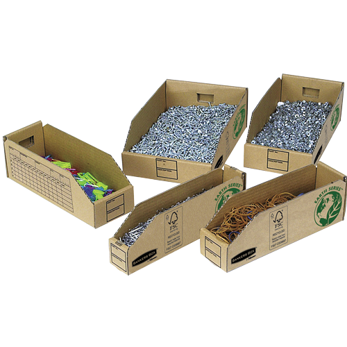 Bankers Box by Fellowes Parts Bin Corrugated Fibreboard Packed Flat 51x280x102mm Ref 07351 [Pack 50]