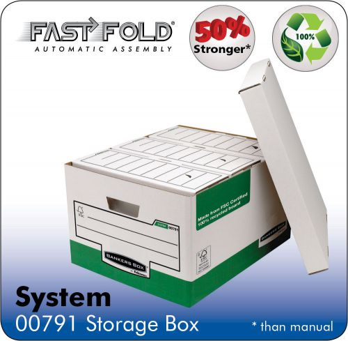 Bankers Box by Fellowes System Storage Box Foolscap White & Green FSC Ref 00791 [Pack 10]
