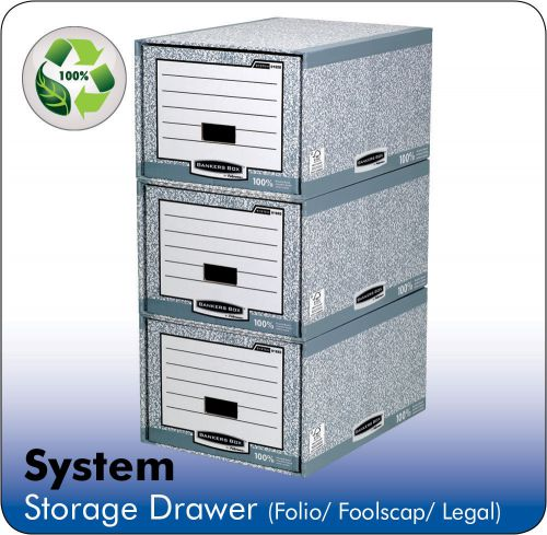 Fellowes Bankers Box System A4 Storage Drawer Grey PK5
