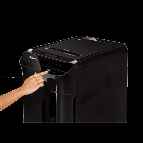 Fellowes AutoMax 350C Shredder 4x38mm Cross-cut P-4 68 Litre Black Ref 4964101