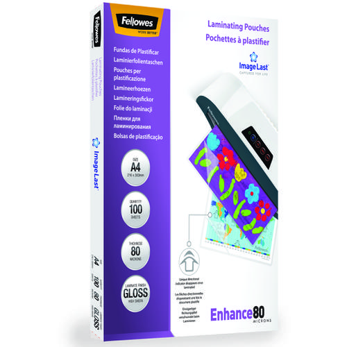 Fellowes Laminating Pouch A4 2x80 micron 5306114 (PK100)