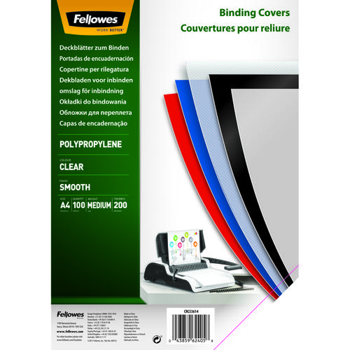 Fellowes Earth Clear Polypropylene Cover 200 Micron A45361401 (PK100)