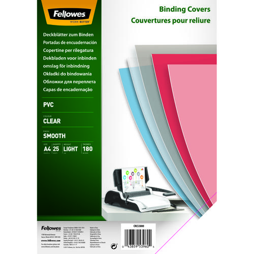 Fellowes Binding Cover PVC A4 180 Micron Clear (Pack 25) 5380001
