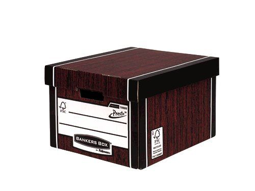 Fellowes Bankers Box Premium Presto Classic Storage Box Woodgrain (Pack of 10+2) 7250501