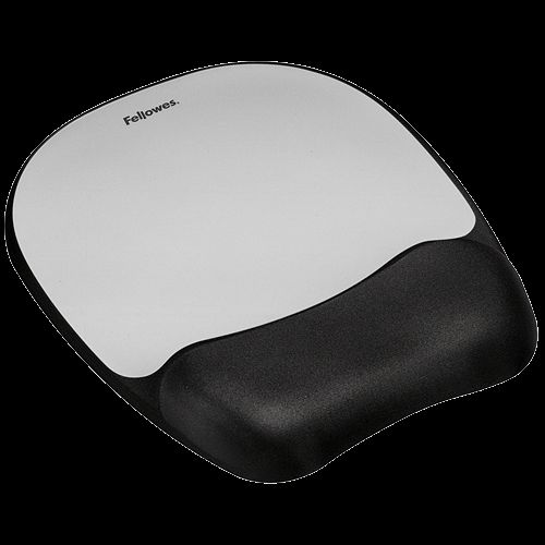 Fellowes Memory Foam Mouse Pad Wrist Rest Silver 9175801