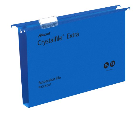 Rexel Crystalfile Extra Suspension File Polypropylene 30mm Foolscap Blue Ref 70633 [Pack 25]