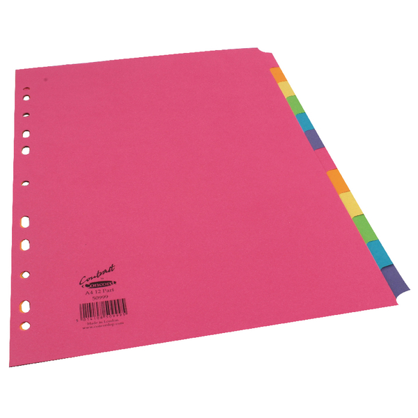Concord Contrast Subject Dividers Europunched 12-Part A4 Assorted Ref 50999