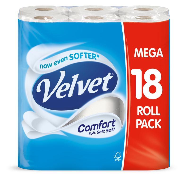 Velvet Toilet Roll Pack 18 For The Price of Pack 12