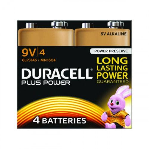 9V Duracell Plus Power 9V Alkaline Battery (Pack 4) MN1604B4PLUS