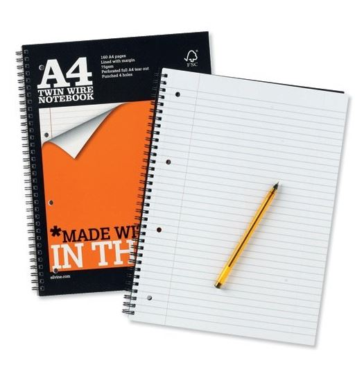 Silvine Notebook Wirebound Perforated Punched Ruled 160pp 75gsm A4 Ref TWPA4 [Pack 6]