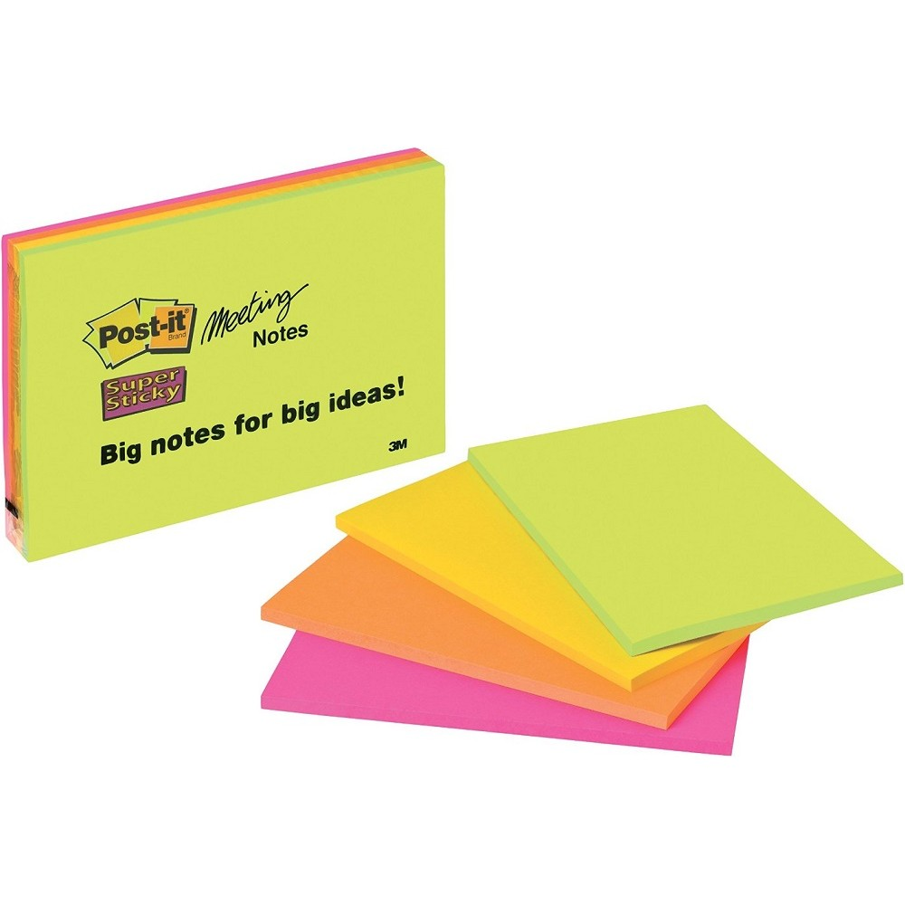 Post-it Super Sticky 200x149mm Neon PK4