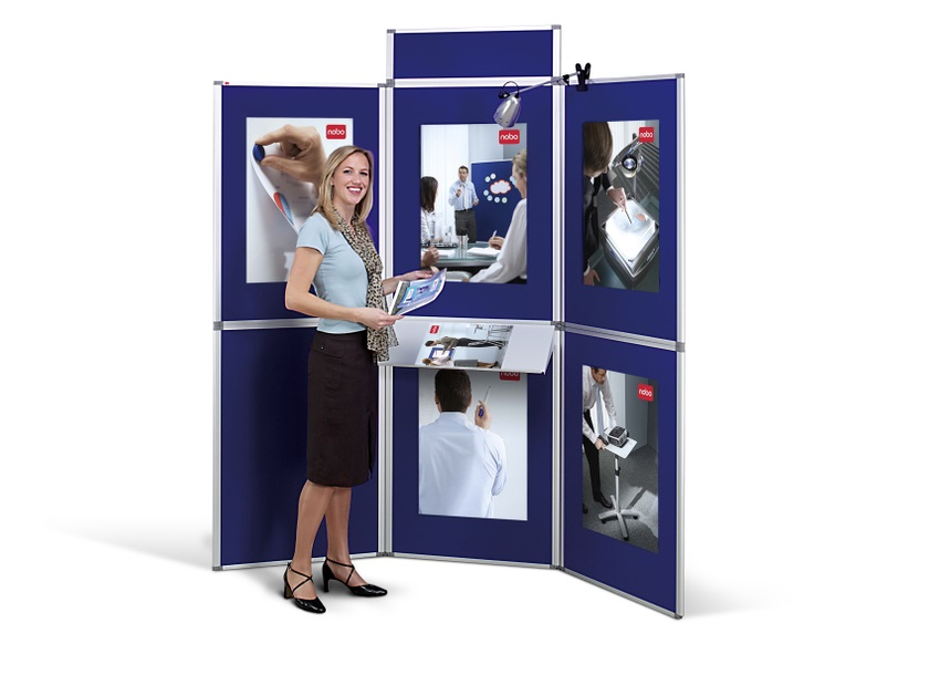 Image for Nobo Pro-Panel Display and Bag 6 Panels Blue Fabric and Dry White Sides 12kg W2250xH2020mm Ref 1901169