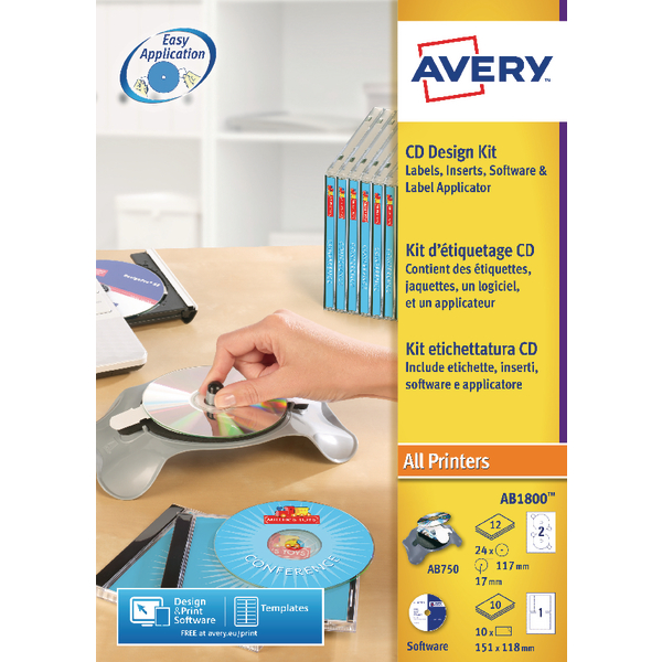 Avery afterBURNER Label System Software with Applicator 10 Inserts Ref AB1800 [24 Labels]