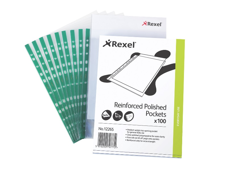 Rexel CKP Pocket Reinforced Green Strip Top-opening A4 Glass Clear Ref 12265 [Pack 100]
