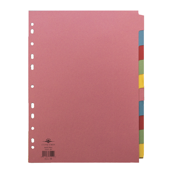 Concord Pastel Dividers A4 10 Part 2X5