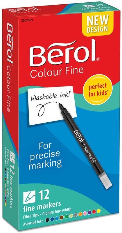 Berol Color Fine Fibre Tip Colouring Pen 0.6mm Line Assorted Colours (Pack 12)