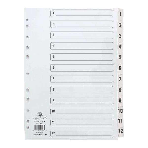 Concord Classic Index 1-12 Clear Mylar