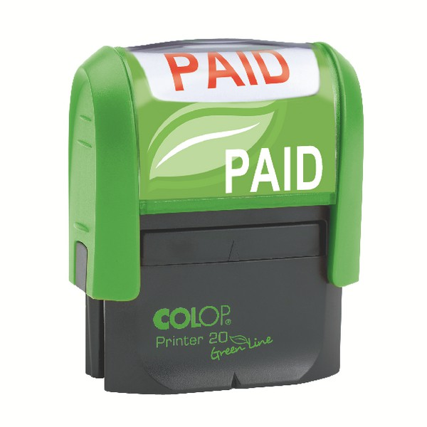 Colop Green Line P20 Self Inking Word Stamp PAID 35x12mm Red Ink