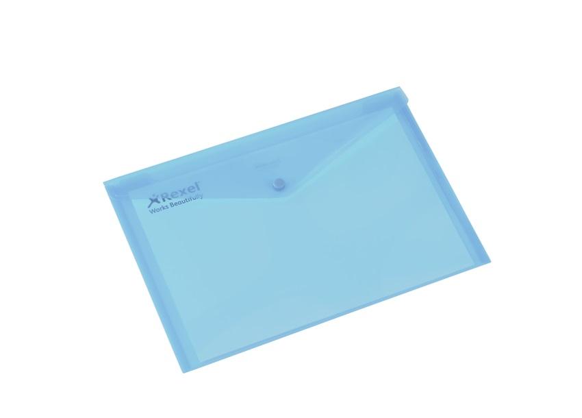 Rexel Popper Wallet Folder Polypropylene A4 Translucent Blue Ref 16129Bu [Pack 5]
