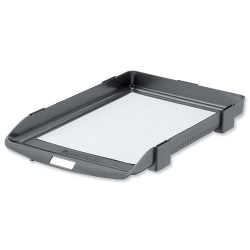 Rexel Agenda Classic 35 Letter Tray Stackable Internal W382xD246xH35mm Charcoal Ref 25200