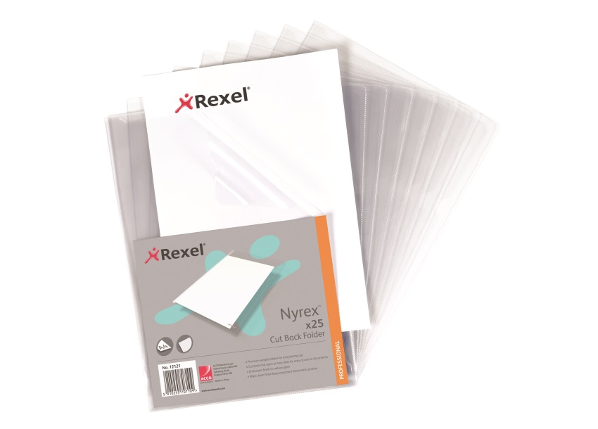 Rexel Nyrex Folder Cut Back A4 Clear Ref 12121 [Pack 25]