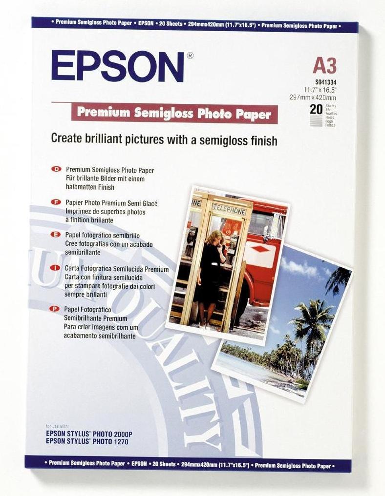 Photo Paper Epson C13S041334 Semi Gloss Photo A3 20 Sheets