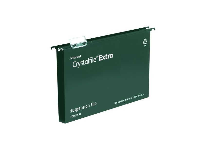 Rexel Crystalfile Extra Suspension File Polypropylene 30mm Foolscap Green Ref 70631 [Pack 25]