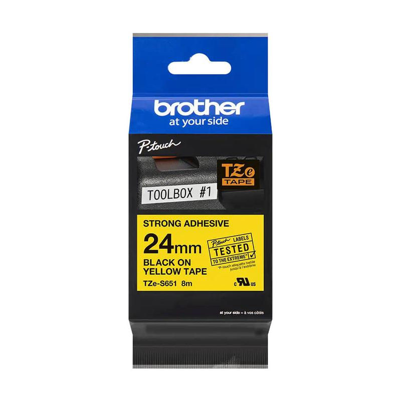 Brother TZES651 Black On Yellow Strong Label Tape 24mmx8m