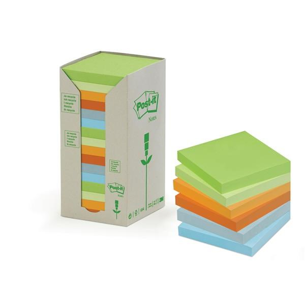 Post-it Pastel Recycled Note Tower 76x76mm 654-1RPT PK16