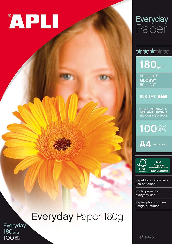 Apli A4 Glossy Paper 180gsm Pk 100