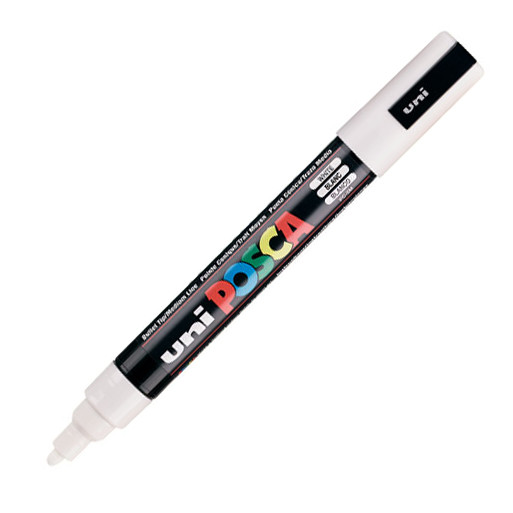 Posca PC-5M Marker Medium White PK1