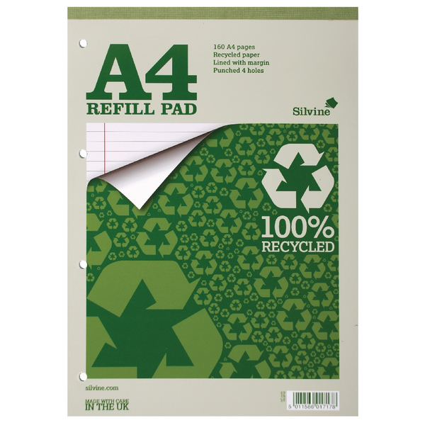 Image for Silvine Everyday Refill Pad Recycled Ruled Margin 160pp 70gsm A4 Ref RE4FM [Pack 6]