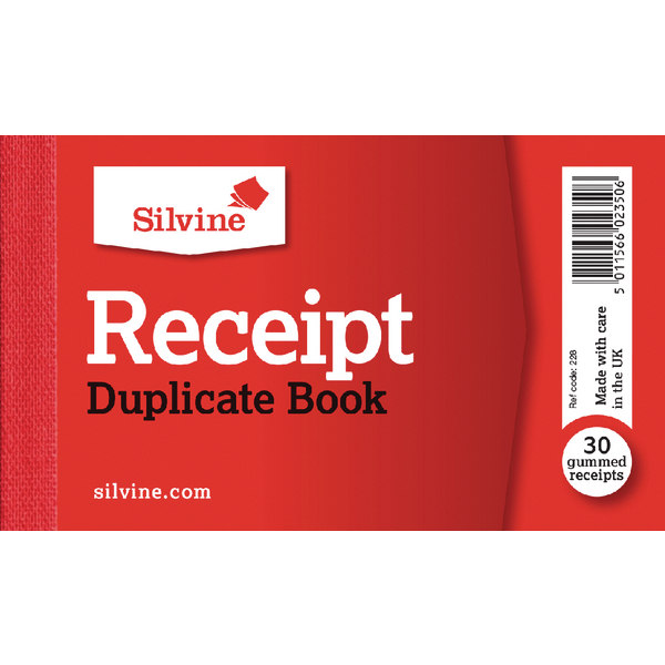 Silvine Receipt Book 63x106mm PK36