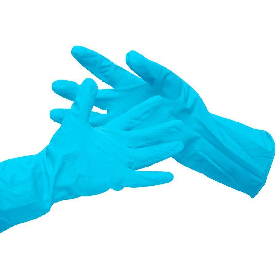 Value Rubber Gloves Size Medium Blue (Pack 6)