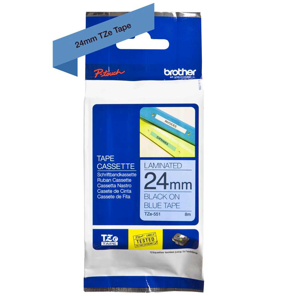 Brother 24Mm Gloss Black On Blue Labelelling Tape