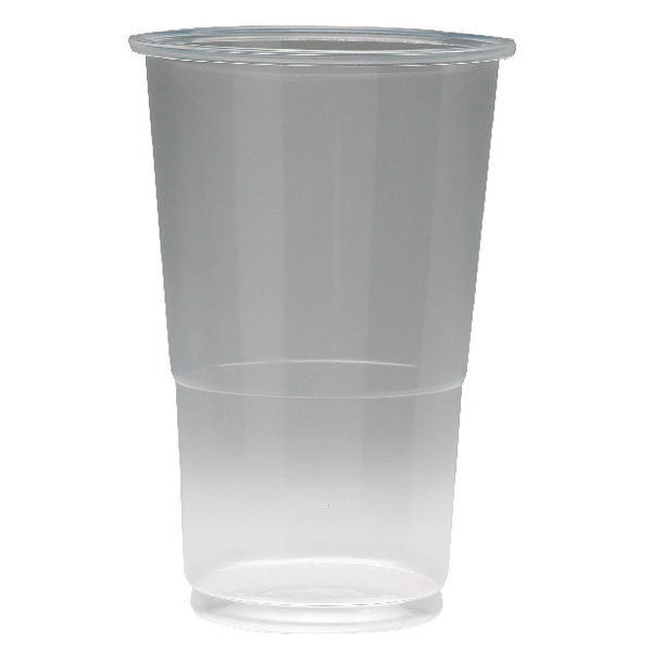 Disposable Cups & Accessories ValueX Flexiglass 1/2 Pint Clear Plastic Glass (Pack 50)