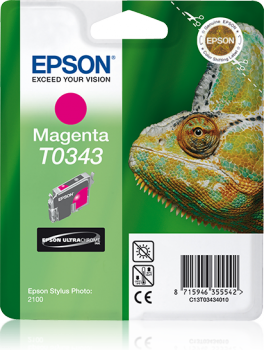 Epson Singlepack Magenta T0343 Ultra Chrome Ink Cartridge Ref C13T03434010