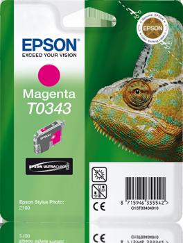 Epson Singlepack Magenta T0343 Ultra Chrome Ink Cartridge Ref C13T03434010