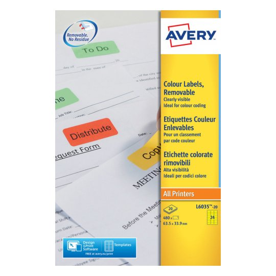 Avery Coloured Labels Laser 24 per Sheet 63.5x33.9mm Yellow Ref L6035-20 [480 Labels]