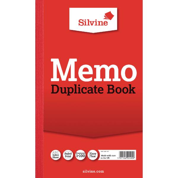 Silvine Triplicate Memo Book 210x127mm PK6
