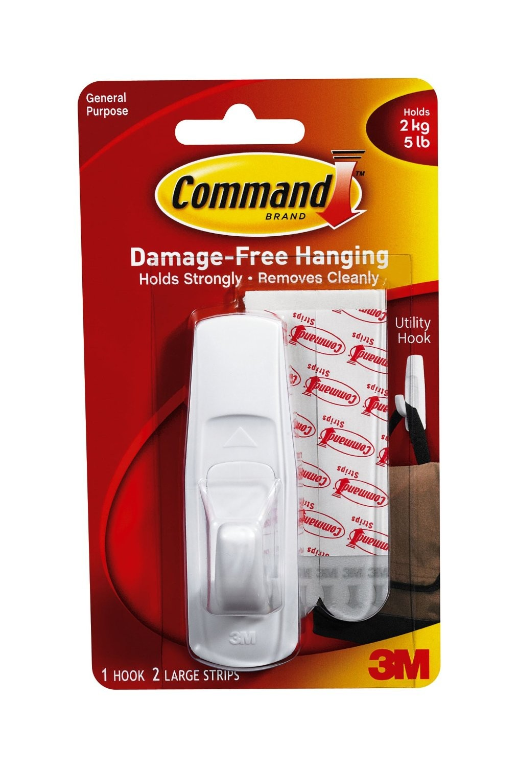 Hanging Hooks & Strips 3M Command Adhesive Large Hook 17003