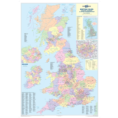 Image for Map Marketing Counties Districts Unitary Authorities Map Unframed 12.5 Miles/inch W830xH1200mm Ref BIC